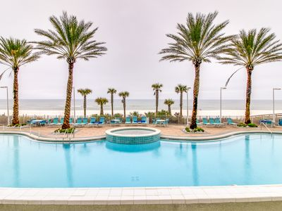 Photo for Penthouse condo on oceanfront w/ Gulf views, shared hot tub, pool & more!