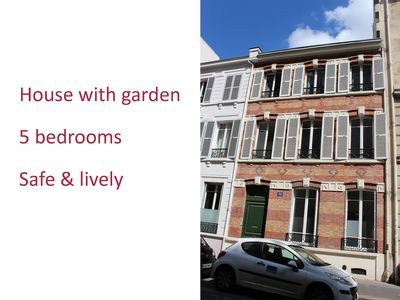 Photo for Large townhouse with garden, heart of Paris, 100m from metro 9 and 10