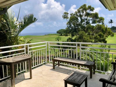 Lanai overlooking the ocean and the 7th hole of the Ocean 9 of the Makai GC,