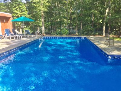Pool is heated!  Do laps or relax in the shallow end