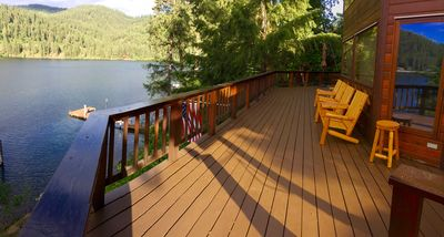 Spacious wrap around deck with a million dollar view of the bay.
