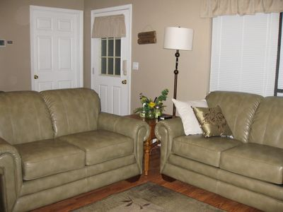 Spacious living room with Lazy Boy Sofa and Love Seat