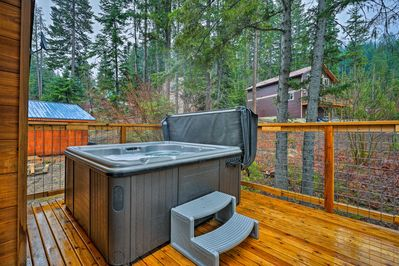 Watch the stars appear as you soak in the home's private hot tub.