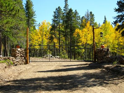 Fall at Blue Sky Ranch: entry gate