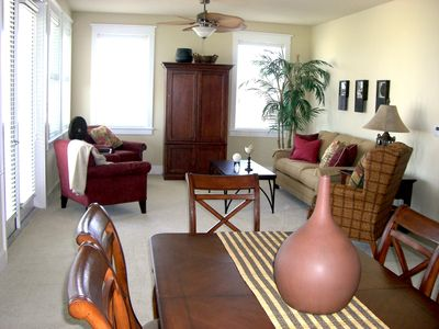 Your Galveston Getaway! Living Area open to dining, kitchen & beach view balcony