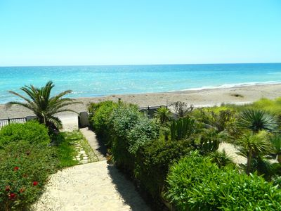 Photo for Villa first line is 12m from the beach, garden, panoramic view of the sea, WiFi