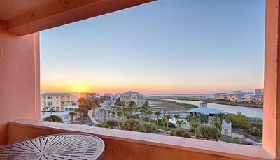 The balcony overlooking Destin's East Pass.  A million dollar view undersells it