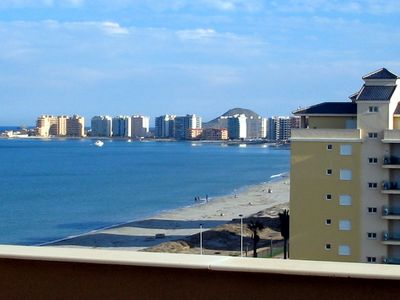 Photo for Stunning sea view - Double Beachfront Penthouse, Wi-Fi, SAT TV, Pool