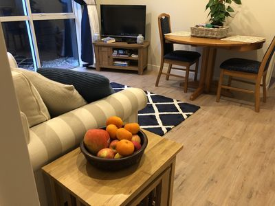 The comfy lounge area, with digital TV, free wifi access, games and sofa bed