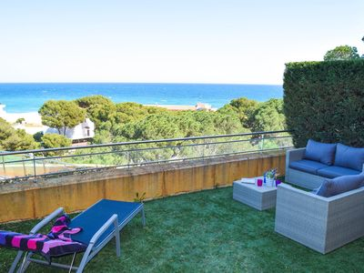 Photo for First line apartment, spectacular sea views.Pool.  A/C.Private garden.Internet.