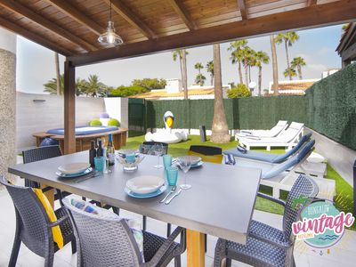Photo for Vintage Bungalow Maspalomas free-Jacuzzi-AC--Wifi Private Garden Barbecue