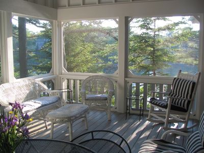 Photo for Oceanfront Juniper Point Cottage with dock, screened porch, close boat traffic