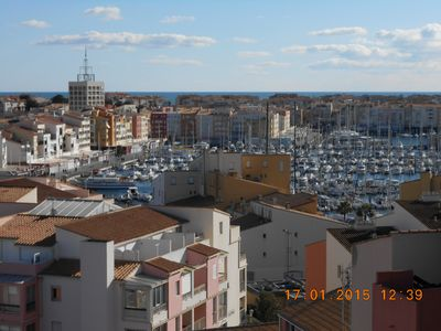 Photo for Apartment in Cap d'Agde with beautiful views of the harbor, sea, cape and sete.