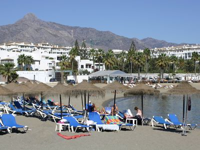 Photo for Beach Front Apt, Puerto Banus, Family Freindly, Free Wifi /parking.pools, Aircon