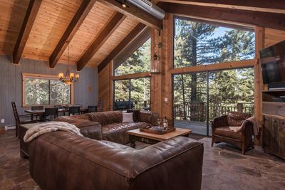 Beautiful wood beam vaulted ceiling creating a warm cabin experience with