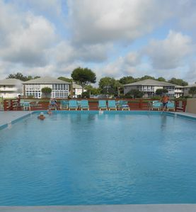 Gorgeous pool area where you can relax, watch the sunsets, or join wateraerobics