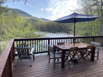 Photo for Waterfront Chalet on the Saco, Mountain Views, Updated, Sleeps 12!