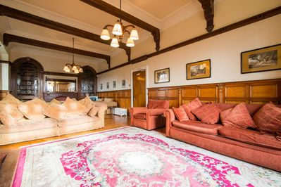 The huge sitting room is fantastic for large groups to congregate and party