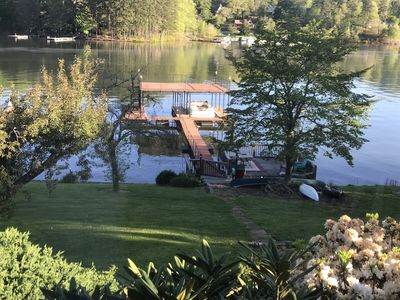 Photo for LAKE FRONT HOME ON LAKE CHATUGE Private quiet cove, very safe neighborhood.