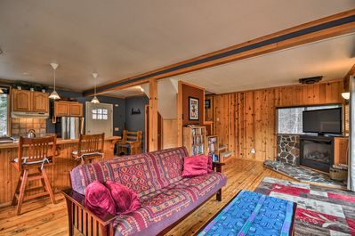 The home features rustic decor and modern updated amenities.