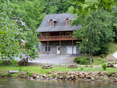 Photo for Cabin w/ river access, gas fireplace, covered deck - outdoor fire pit!