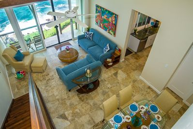 Colors of the surf, sand and sea fill the bright main living space