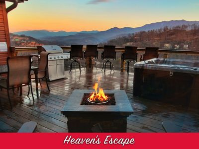 Photo for Secluded Luxury View Cabin! 2 Master Suites, Huge Deck, Fire pit, near Downtown!