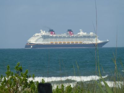 Disney cruise ship as seen from our porch/deck