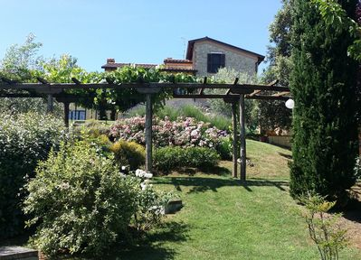 Front view and Pergola in the lowest garden