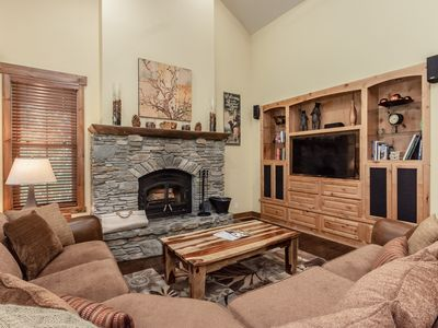 Photo for Elegant townhouse on ski shuttle route with mountain views and wood-burning fireplace