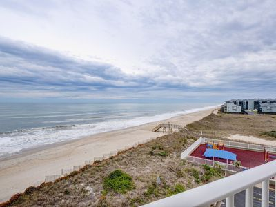 Photo for Oceanfront Point Unit, with wine fridge, steps to the beach