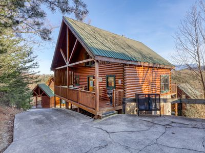 Photo for Stunning log cabin in the rolling hills w/ a private hot tub & shared pool
