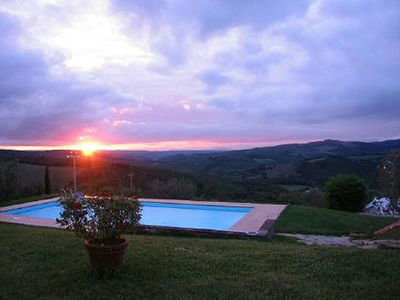 Photo for Lovely apartment in villa with pool, WIFI, TV, panoramic view and parking, close to Greve In Chi...