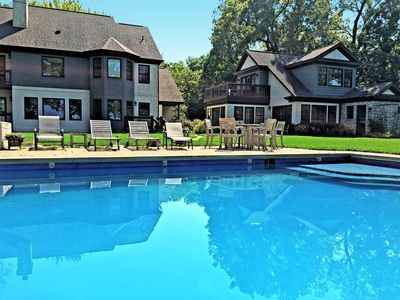 Photo for Shore Acres - luxury lakefront pool house & huge yard overlooking Lake Michigan