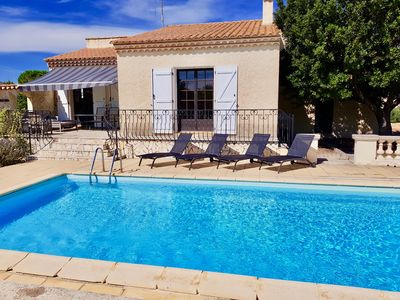 Photo for Modern villa, private heated pool in traditional Languedoc village near Med