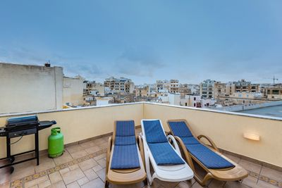 Large front terrace with ample space for sunbathing and  BBQs
