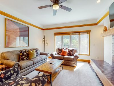 Photo for 2nd floor chalet-style condo w/ shared pool and hot tub - walk to ski lifts!