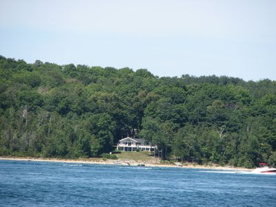 View of the house from the middle of Lake Charlevoix