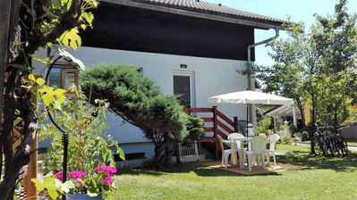 Photo for Modern, refurbished 2 bedroom apartment with garden near Lake Bled (sleeps 5).