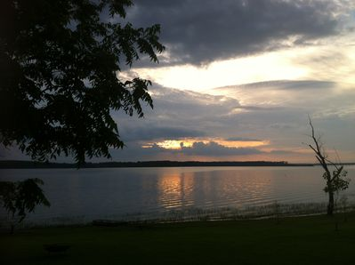 The view from the deck at sunset