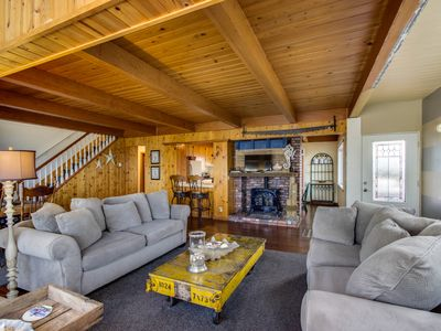 Photo for Spacious home with two large decks & ocean view - great for groups!