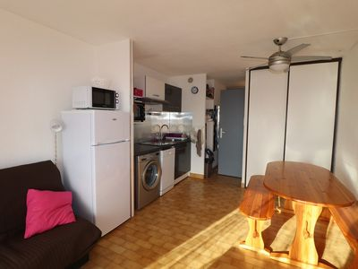 Photo for Charming Double Cabin Studio with air conditioning swimming pool parking near sea shops
