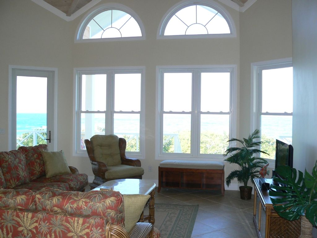 Great room boasts ocean-view wall of windows!