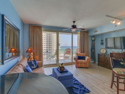 Photo for Waterfront condo w/ balcony, beach, shared pool/hot tub! Snowbirds welcome!