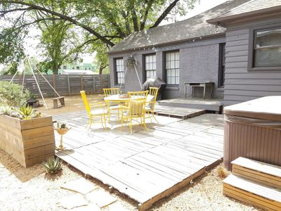 Photo for Artist Ranchette with hot tub and outdoor space, 1 block to Bishop Arts District