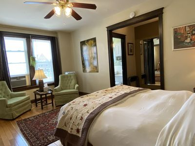 Another view of the Targee's main room, which features both the living area and a top-quality Queen-sized bed.