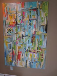 One of a kind painting as you come in the front door by Bellamy Murphy.
