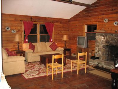 Photo for Log cabin ambience with today's conveniences overlooks 400 private acres, views