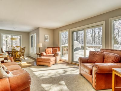 Photo for Home with forest views, fireplace, deck - master suite & private balcony!