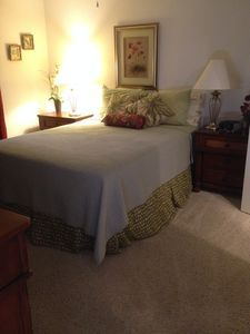 Master bedroom. The bedding is changed with the season!